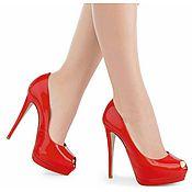 Обувь ручной работы. Ярмарка Мастеров - ручная работа Туфли женские в лаковой красной коже. Handmade.