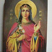 Картины и панно handmade. Livemaster - original item Holy Esther - hand-written icon of hot colors directly on the wood. Handmade.