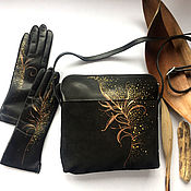 """Сумки и аксессуары handmade. Livemaster - original item Set """"In the stardust."""" Hand painted. Genuine Leather.. Handmade."""