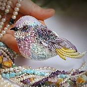 Украшения ручной работы. Ярмарка Мастеров - ручная работа Весенняя пташка, птичка брошь вышивка бисером. Handmade.