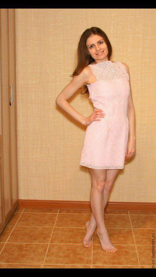 Платья ручной работы. Ярмарка Мастеров - ручная работа. Купить Кружевное платье. Handmade. Бледно-розовый, кружевное платье, бязь