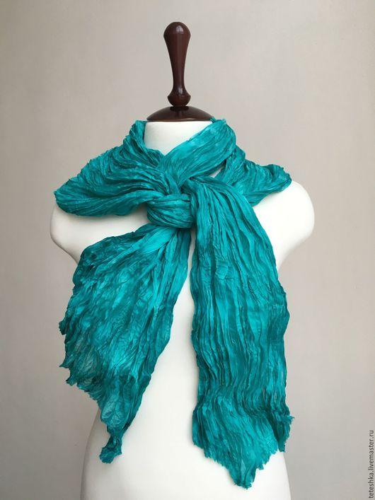 """Шали, палантины ручной работы. Ярмарка Мастеров - ручная работа. Купить Палантин """"Turquoise sea"""", нат.шелк, 220х92см. Handmade."""