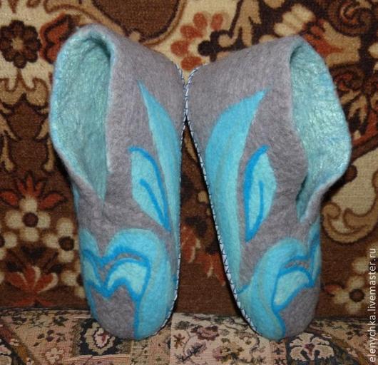 """Обувь ручной работы. Ярмарка Мастеров - ручная работа. Купить Валяные тапочки """"Холодный огонь"""". Handmade. Бирюзовый, кожа натуральная"""