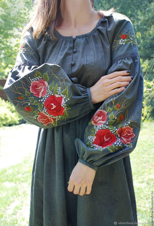 """Платье из хлопка с ручной вышивкой """"Пленительные розы"""" вышитое платье, Dresses, Vinnitsa,  Фото №1"""