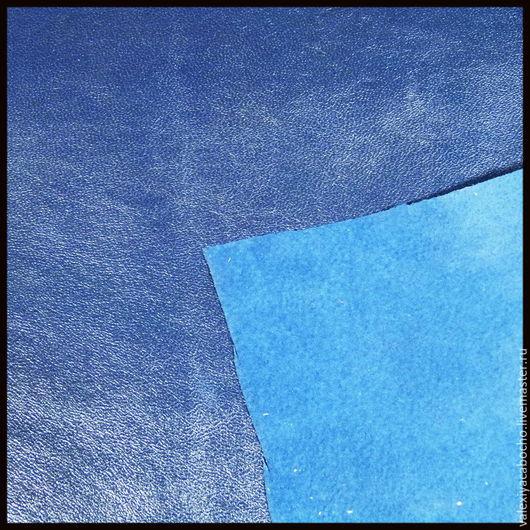 Шитье ручной работы. Ярмарка Мастеров - ручная работа. Купить Кожа натуральная - темно синяя (разные кусочки). Handmade. Кожа