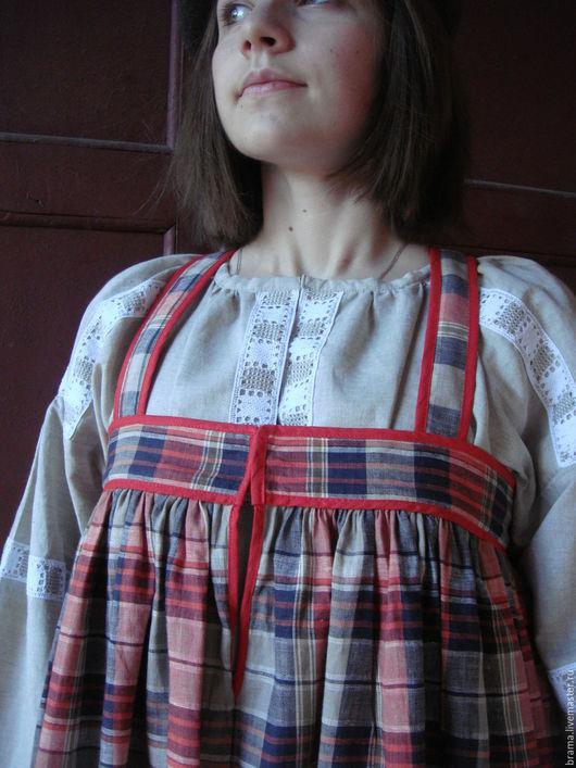 Этническая одежда ручной работы. Ярмарка Мастеров - ручная работа. Купить сарафан льняной. Handmade. Разноцветный, этно