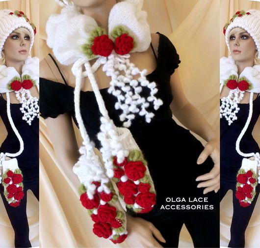 """Шарфы и шарфики ручной работы. Ярмарка Мастеров - ручная работа. Купить Вязаный 3D шарфик """"Розочки"""" от Olga Lace. Handmade."""