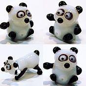 Куклы и игрушки handmade. Livemaster - original item Collectible micro figurine glass Panda Nura Lee with friends. Handmade.