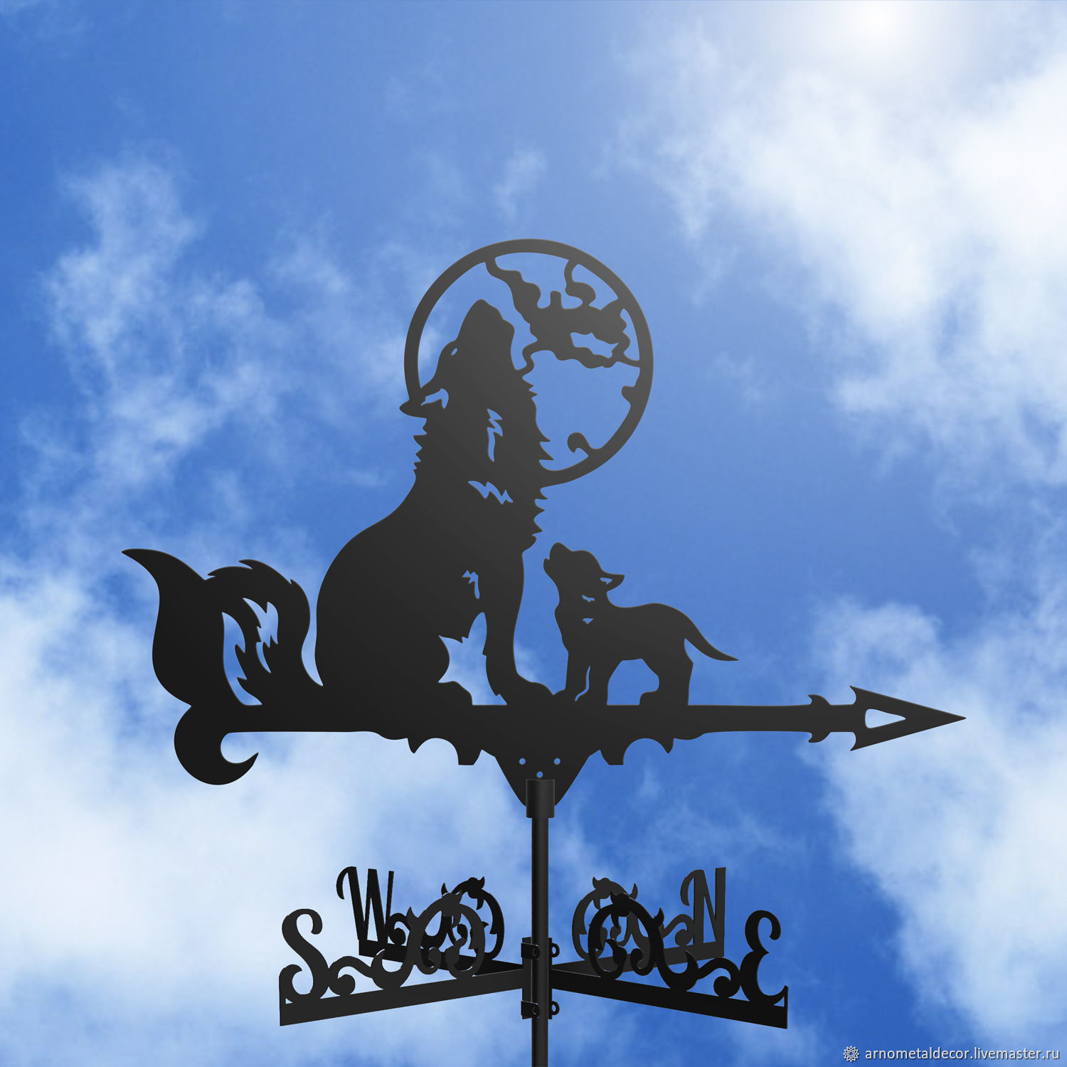 Weather vane on the roof ' Wolves and the Moon', Vane, Ivanovo,  Фото №1