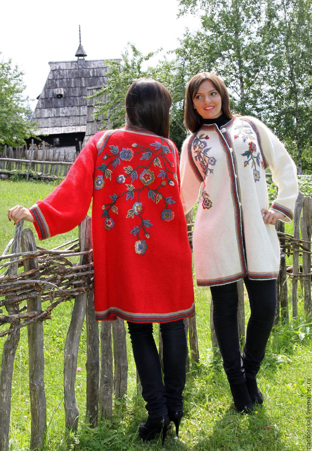 Sirogojno style pure Icelandic sheep wool women`s jacket hand knitted in Serbia `Amazing flowers` (Model 4174) color red/white