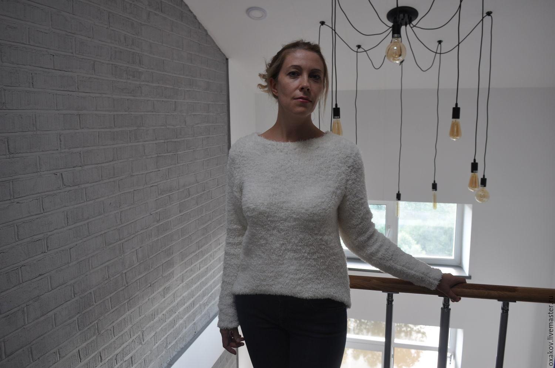 Кофты и свитера ручной работы. Ярмарка Мастеров - ручная работа. Купить Пуловер белый и пушистый. Handmade. Белый, пуловер вязанный