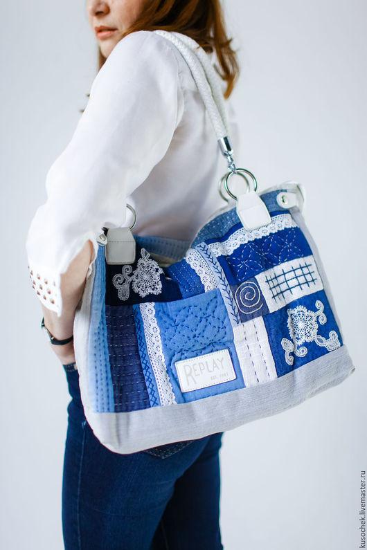 Женские сумки ручной работы. Ярмарка Мастеров - ручная работа. Купить Сумка джинсовая летняя. Handmade. Тёмно-синий, стежка