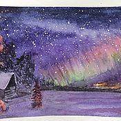 Картины и панно ручной работы. Ярмарка Мастеров - ручная работа Северное сияние, акварель. Handmade.