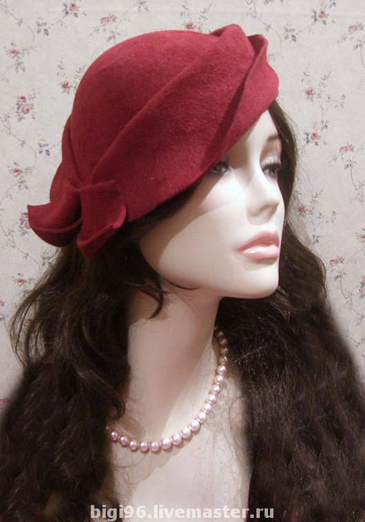 """Шляпы ручной работы. Ярмарка Мастеров - ручная работа. Купить шляпка"""" кокетка"""". Handmade. Шляпка, винтаж, стильный аксессуар, бордовый"""