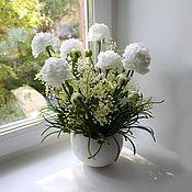 Цветы и флористика ручной работы. Ярмарка Мастеров - ручная работа Белые лютики. Handmade.