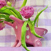 Винтаж ручной работы. Ярмарка Мастеров - ручная работа Керамический набор: ваза в виде тележки и кувшинчик. Handmade.