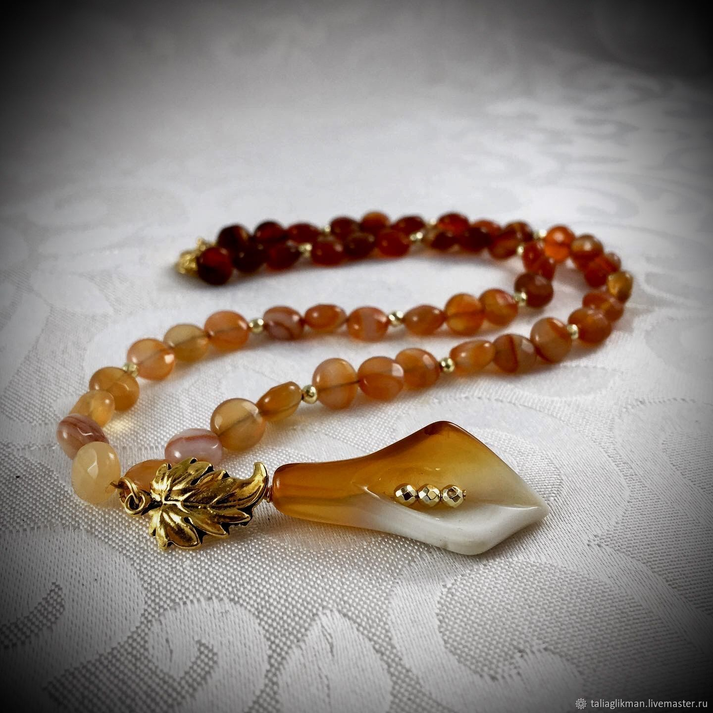 Cut agate necklace with a pendant, Necklace, Moscow,  Фото №1
