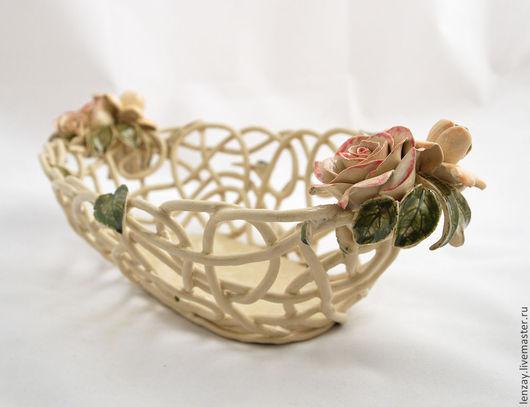Фруктовница `Прованс`. Плетеная керамика и керамические цветы Елены Зайченко