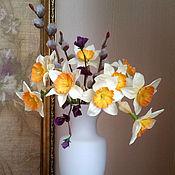 Цветы и флористика ручной работы. Ярмарка Мастеров - ручная работа букет ванильных нарциссов. Handmade.