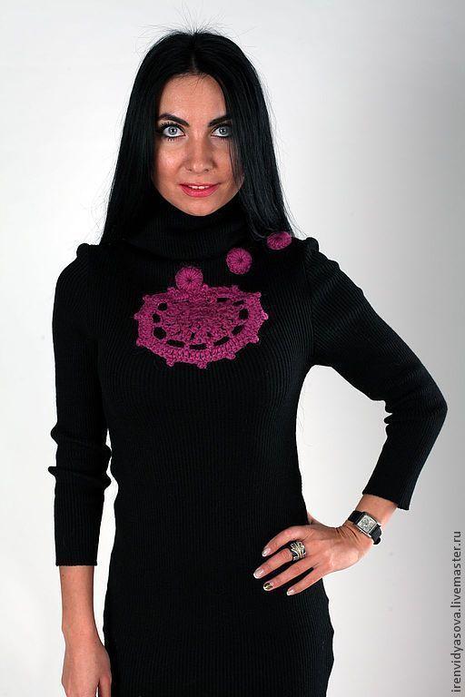 """Платье машинной вязки, техника """"Резинка"""", отделка крючком - цветок напоминающий звезду. Будьте элегантной каждый день!"""