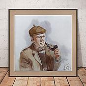 Картины и панно handmade. Livemaster - original item Painting with watercolours Sherlock (Holmes, grey & beige). Handmade.
