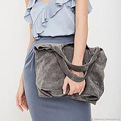 Сумки и аксессуары handmade. Livemaster - original item Grey suede Handbag Bag large bag shopping Bag shopper Bag t-shirt. Handmade.