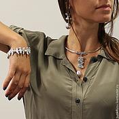 Украшения handmade. Livemaster - original item Choker-a necklace with Biwa pearls and Mallorca. Khaki. Handmade.