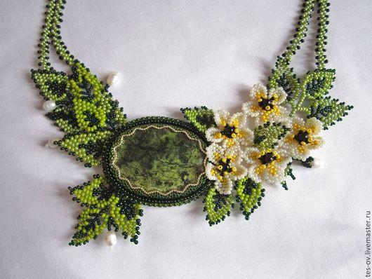 """Колье, бусы ручной работы. Ярмарка Мастеров - ручная работа. Купить Колье """"Весна пришла"""" со змеевиком. Handmade. Зеленый"""