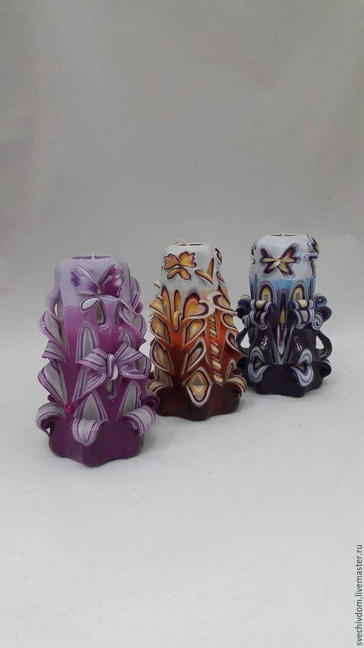 Свечи ручной работы. Ярмарка Мастеров - ручная работа. Купить Резные свечи .. Handmade. Фиолетовый, ярмарка ручной работы