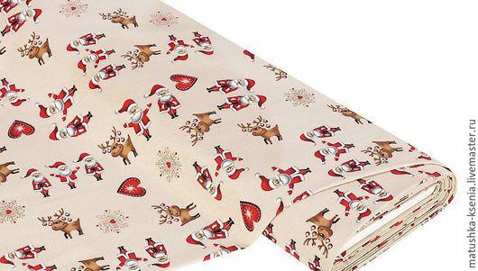 """Шитье ручной работы. Ярмарка Мастеров - ручная работа. Купить Ткань Германия """"Олени и санты"""" Новый год для тильды пэчворк. Handmade."""