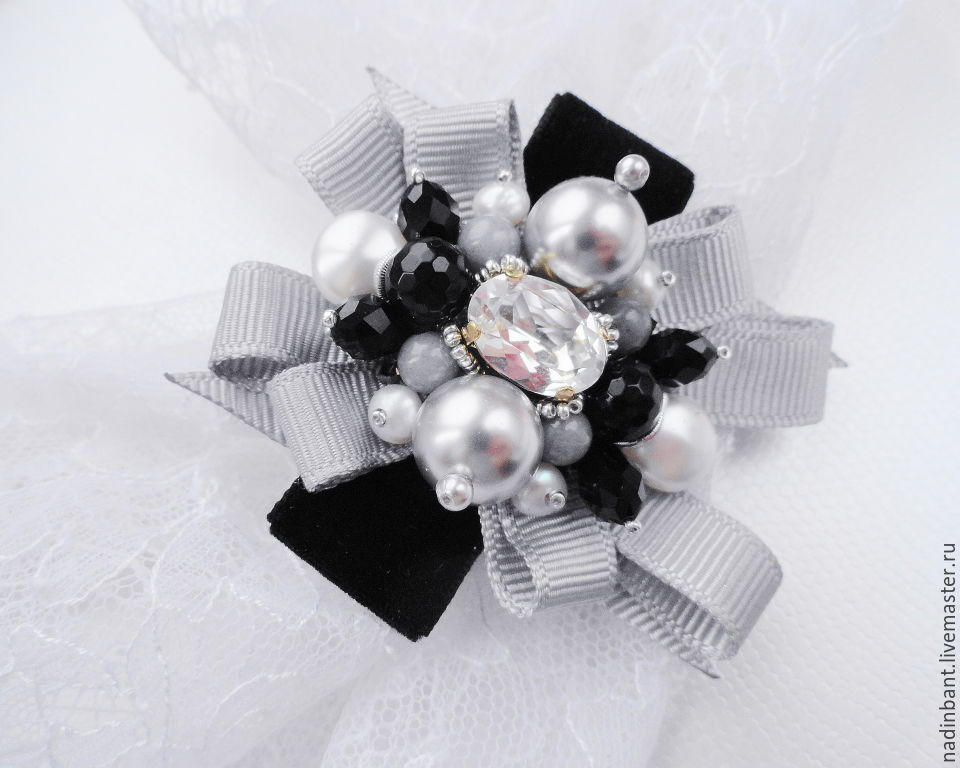 Brooch pendant 'Sweet Black and Grey'. Swarovski, natural pearls, Brooches, St. Petersburg,  Фото №1