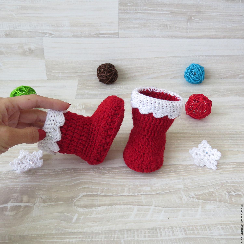 пинетки новогодние сапожки, новогодние пинетки вязаные для мальчика,  красные угги пинетки для девочки, ... 495d4bce6e4