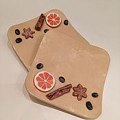 """Посуда ручной работы. Ярмарка Мастеров - ручная работа """"Апельсиновый грог"""" тарелочка для сладкого десерта. Handmade."""