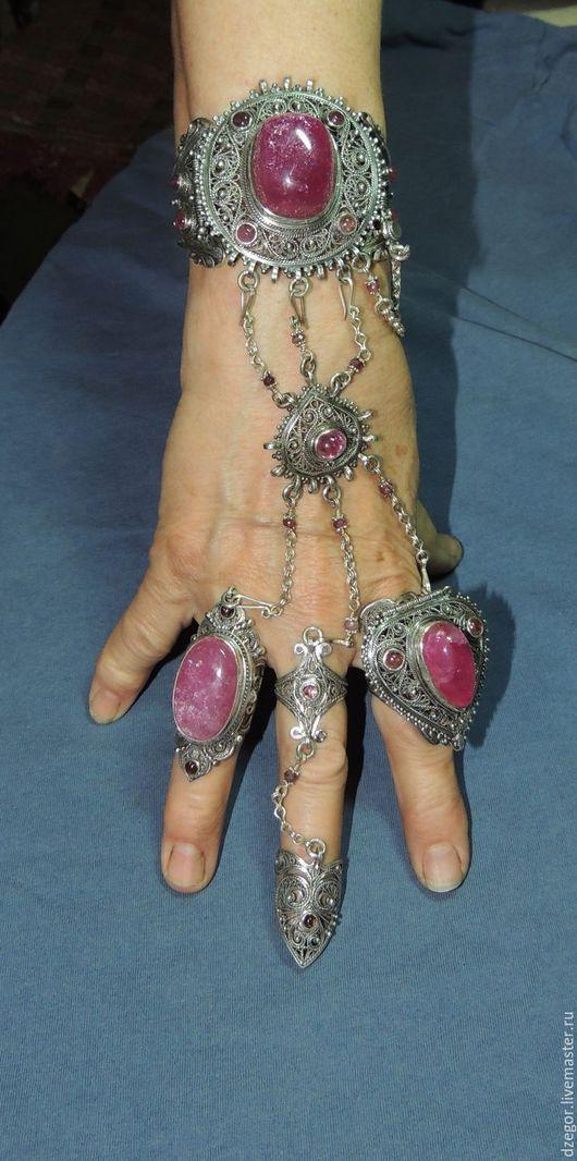 Комплекты украшений ручной работы. Ярмарка Мастеров - ручная работа. Купить Розовое Счастье. Handmade. Розовый, браслет с цепями, серебро