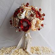 Свадебный салон ручной работы. Ярмарка Мастеров - ручная работа Свадебный Брошь-букет невесты марсала из тканей и брошей. Handmade.
