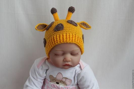 """Для новорожденных, ручной работы. Ярмарка Мастеров - ручная работа. Купить Шапочка """" Жираф """" (0-3 мес.). Handmade."""
