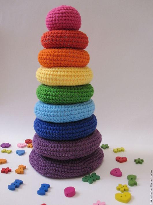 Развивающие игрушки ручной работы. Ярмарка Мастеров - ручная работа. Купить Пирамидка вязаная - развивающая игрушка. Handmade. Комбинированный