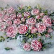 Картины и панно handmade. Livemaster - original item Picture of wool Tenderness of roses. Handmade.