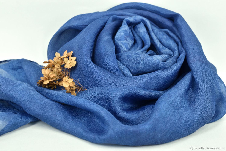 Silk scarf 'Sea of calm' Indigo, Scarves, Moscow,  Фото №1