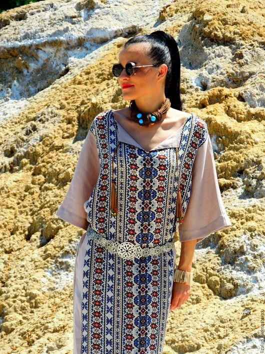 платье летнее, бохо платье, платье из льна, платье прямое, платье льняное, платье макси, бохо стиль, стиль бохо