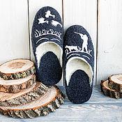 Обувь ручной работы handmade. Livemaster - original item Hunting felt men`s felted Merino wool Slippers with sole. Handmade.