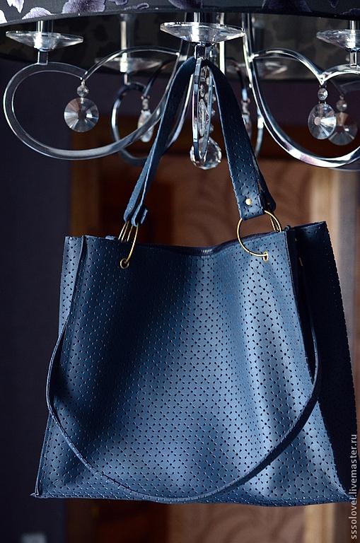 Женские сумки ручной работы. Ярмарка Мастеров - ручная работа. Купить Кожаная сумка-шоппер. Handmade. Тёмно-синий, шопер