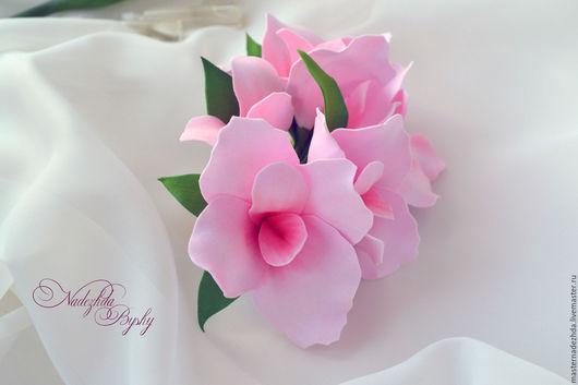 """Заколки ручной работы. Ярмарка Мастеров - ручная работа. Купить заколка """"Канна"""". Handmade. Бледно-розовый, фоамиран иранский"""