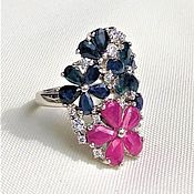 Украшения handmade. Livemaster - original item Ring with natural sapphires, rubies