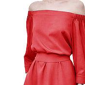 Одежда ручной работы. Ярмарка Мастеров - ручная работа Платье кораллового цвета, открытые плечи. Handmade.