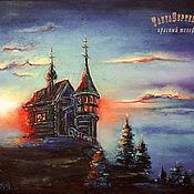 Картины и панно handmade. Livemaster - original item Oil painting of RUSSIAN NORTH. CHURCH AT SUNSET. Handmade.