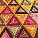 """Текстиль, ковры ручной работы. Заказать Лоскутное покрывало в стиле пэчворк """"Калейдоскоп"""". #МамаШьёт. Ярмарка Мастеров. Треугольник, лоскутный плед"""