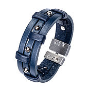 Украшения handmade. Livemaster - original item Blue leather bracelet with three studs. Handmade.