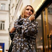 Одежда handmade. Livemaster - original item Blue hearts oversize coat