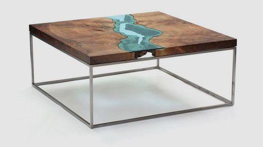 Мебель ручной работы. Ярмарка Мастеров - ручная работа. Купить Журнальный стол-река из слэбов ценных пород.. Handmade. Стол